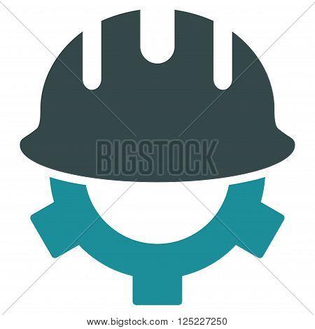 Development Helmet vector icon. Development Helmet icon symbol. Development Helmet icon image. Development Helmet icon picture. Development Helmet pictogram. Flat soft blue development helmet icon.