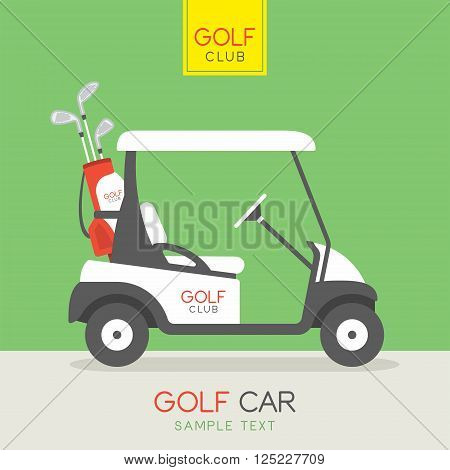 Golf car. Golf cart flat style vector illustration