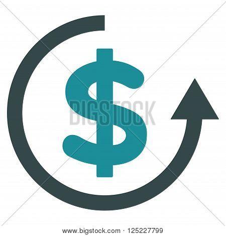 Refund vector icon. Refund icon symbol. Refund icon image. Refund icon picture. Refund pictogram. Flat soft blue refund icon. Isolated refund icon graphic. Refund icon illustration.