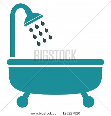 Shower Bath vector icon. Shower Bath icon symbol. Shower Bath icon image. Shower Bath icon picture. Shower Bath pictogram. Flat soft blue shower bath icon. Isolated shower bath icon graphic.