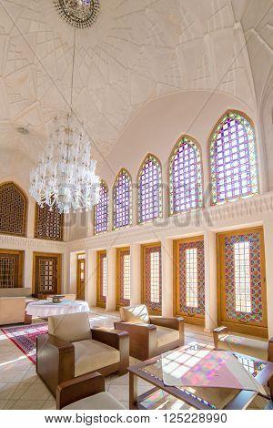 Kashan, Iran - December 9, 2015: Fancy restautrant in Ameri Historical House in Kashan, Iran