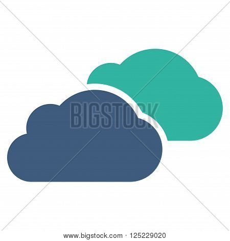 Clouds vector icon. Clouds icon symbol. Clouds icon image. Clouds icon picture. Clouds pictogram. Flat cobalt and cyan clouds icon. Isolated clouds icon graphic. Clouds icon illustration.