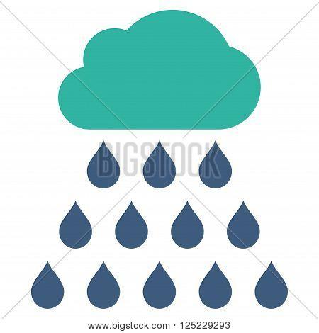 Rain Cloud vector icon. Rain Cloud icon symbol. Rain Cloud icon image. Rain Cloud icon picture. Rain Cloud pictogram. Flat cobalt and cyan rain cloud icon. Isolated rain cloud icon graphic.