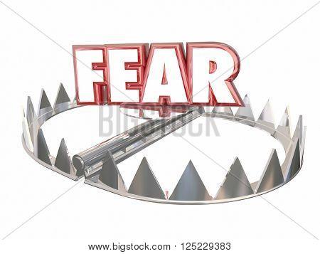 Fear Afraid Danger Scared Warning Bear Trap Word 3d
