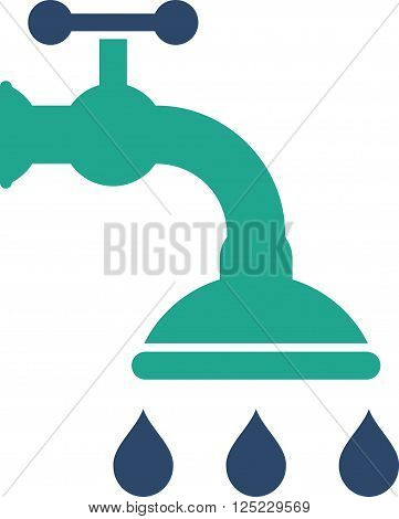 Shower Tap vector icon. Shower Tap icon symbol. Shower Tap icon image. Shower Tap icon picture. Shower Tap pictogram. Flat cobalt and cyan shower tap icon. Isolated shower tap icon graphic.