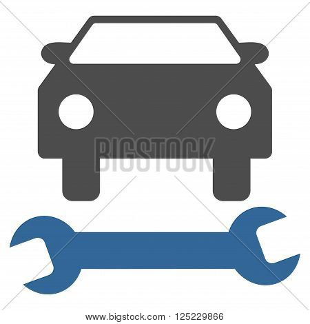 Car Repair vector icon. Car Repair icon symbol. Car Repair icon image. Car Repair icon picture. Car Repair pictogram. Flat cobalt and gray car repair icon. Isolated car repair icon graphic.