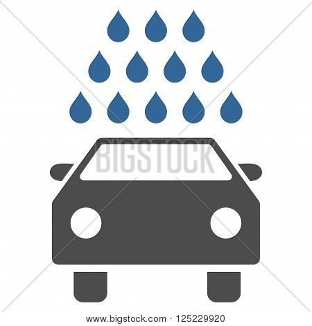 Car Wash vector icon. Car Wash icon symbol. Car Wash icon image. Car Wash icon picture. Car Wash pictogram. Flat cobalt and gray car wash icon. Isolated car wash icon graphic.