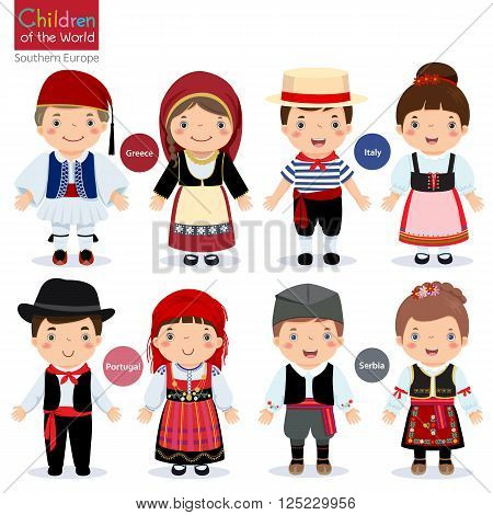 Kids in different traditional costumes (Greece Italy Portugal Serbia)