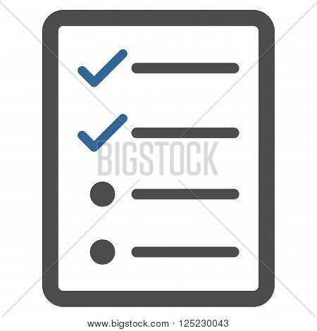 Checklist Page vector icon. Checklist Page icon symbol. Checklist Page icon image. Checklist Page icon picture. Checklist Page pictogram. Flat cobalt and gray checklist page icon.