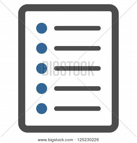 List Page vector icon. List Page icon symbol. List Page icon image. List Page icon picture. List Page pictogram. Flat cobalt and gray list page icon. Isolated list page icon graphic.