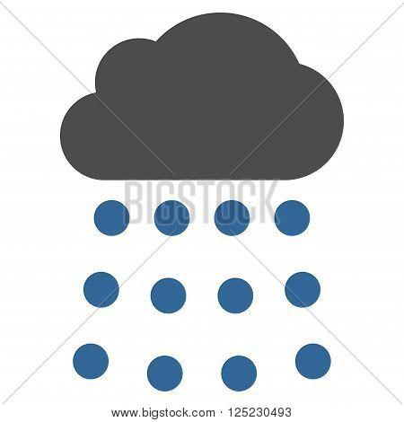 Rain Cloud vector icon. Rain Cloud icon symbol. Rain Cloud icon image. Rain Cloud icon picture. Rain Cloud pictogram. Flat cobalt and gray rain cloud icon. Isolated rain cloud icon graphic.