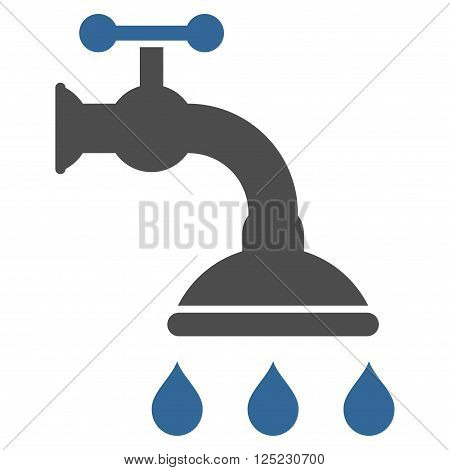 Shower Tap vector icon. Shower Tap icon symbol. Shower Tap icon image. Shower Tap icon picture. Shower Tap pictogram. Flat cobalt and gray shower tap icon. Isolated shower tap icon graphic.