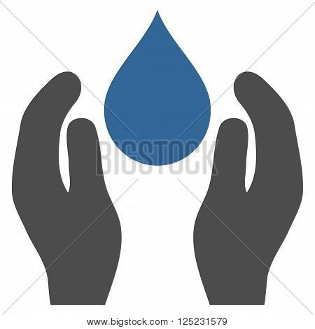 Water Care vector icon. Water Care icon symbol. Water Care icon image. Water Care icon picture. Water Care pictogram. Flat cobalt and gray water care icon. Isolated water care icon graphic.