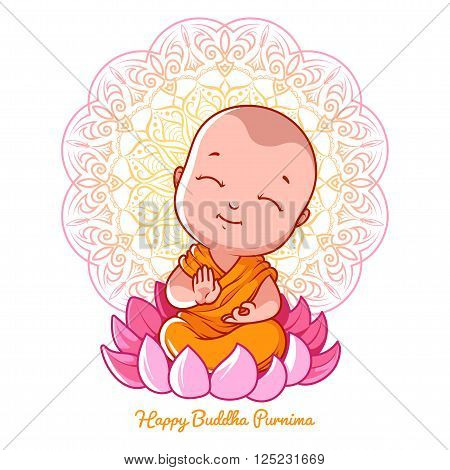 Little cartoon monk on the lotus. Greeting card for Buddha purnima. Vector illustration on a white background.