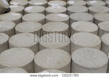 heap of Concrete cylindrical samples for concrete mixes testing