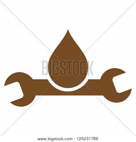 Plumbing vector icon. Plumbing icon symbol. Plumbing icon image. Plumbing icon picture. Plumbing pictogram. Flat brown plumbing icon. Isolated plumbing icon graphic. Plumbing icon illustration.
