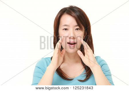 portrait of Japanese woman shout something on white background