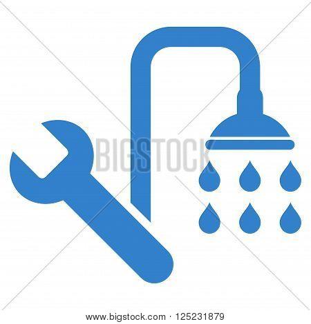 Plumbing vector icon. Plumbing icon symbol. Plumbing icon image. Plumbing icon picture. Plumbing pictogram. Flat cobalt plumbing icon. Isolated plumbing icon graphic. Plumbing icon illustration.