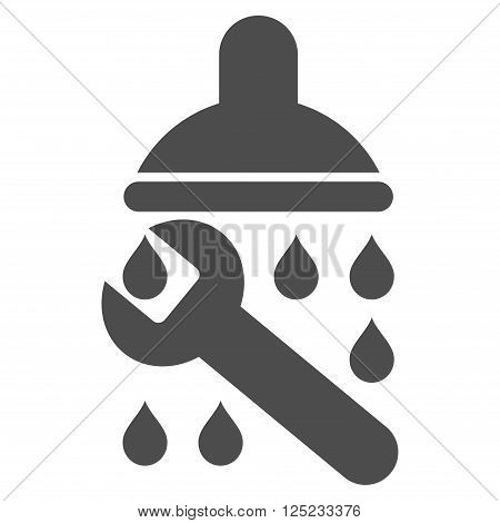 Shower Plumbing vector icon. Shower Plumbing icon symbol. Shower Plumbing icon image. Shower Plumbing icon picture. Shower Plumbing pictogram. Flat gray shower plumbing icon.