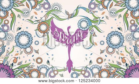 Banner of Phoenix with ornate on an abstract floral ornamental spring frame on the background. An illustration with lots of ornates and Phoenix in vary colors. Perfect for web and print industry