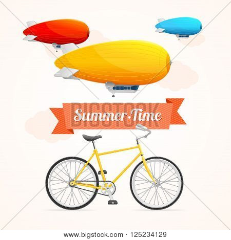 Summer Card with Dirigible and Bike on a White Background. Vector illustration