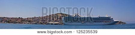 KUSADASI TURKEY 22ND JULY 2015. Emerald Princess part of the Princess Cruises fleet docked in Kusadasi Turkey