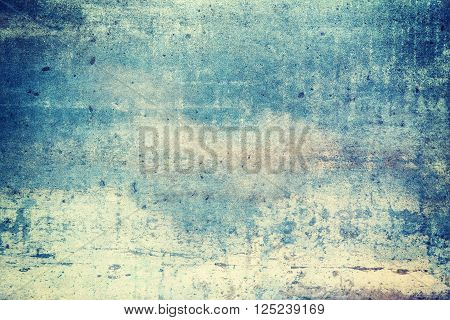 Horizontally oriented blue color grunge texture background