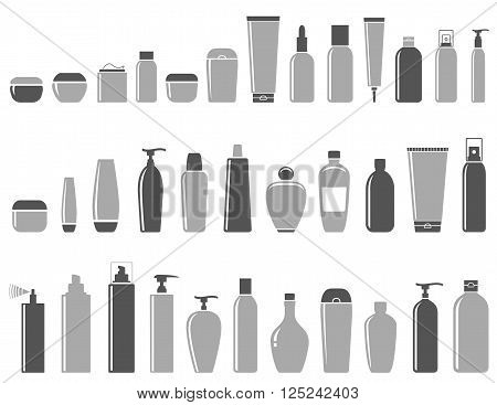 blank cosmetic bottle icon set on white background