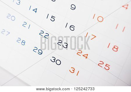 Calendar Page With Selective Focus