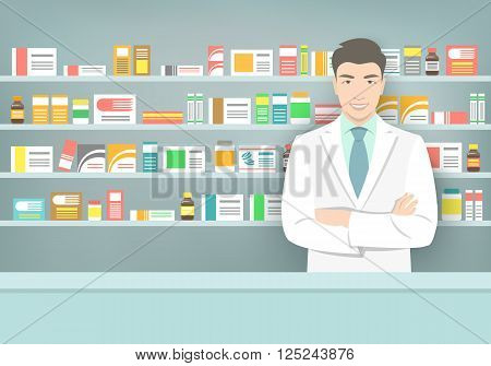 Pharmacist at a counter in a pharmacy opposite the shelves with medicines. Asian man vendor in a drugstore. Modern flat vector medical illustration. Healthcare background. People occupation design