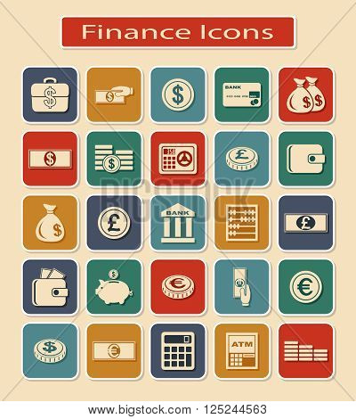 Set of Financial Icons. Monetary and Currency Symbols on a Light Background.