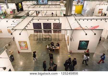 Top View Of People And Booths At Miart 2016 In Milan, Italy