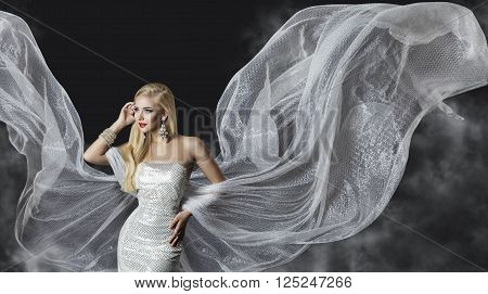 Fashion Model Dress Woman Flowing Cloth Wings Beautiful Girl with Flying Silver Fabric