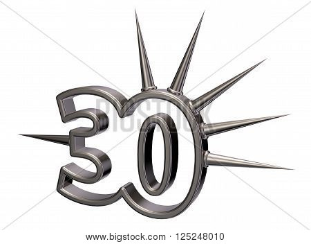 number thirty with prickles on white background - 3d illustration