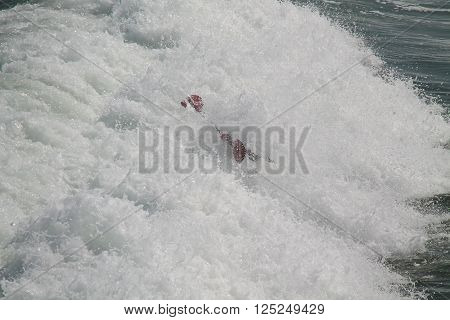 A Canoeist Engulfed in a Sea Wave Surf at the Beach.