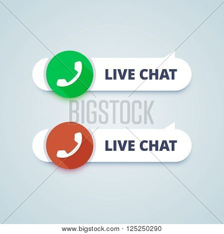 Live chat buttons. Online and offline variants. Phone sign. Vector illustration in material design style.