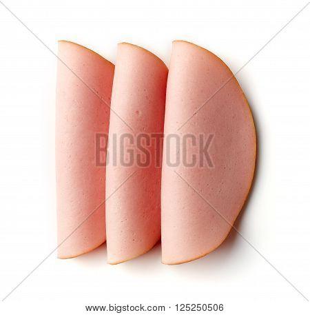 Boiled Ham Sausage Isolated On White Background