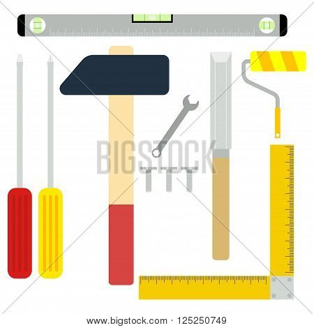 Construction and repair tools set. Installation tools. Screwdriver hammer chisel and other tools. Vector set of repairs tools. Isolated on white.