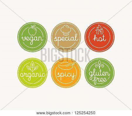 Vector Set Of Food Menu Badges And Labels With Hand-lettering And Icons In Trendy Linear Style - Mar