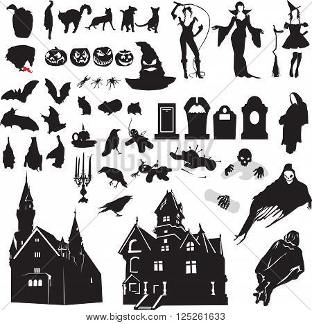 large set of isolated silhouettes symbolizing Halloween