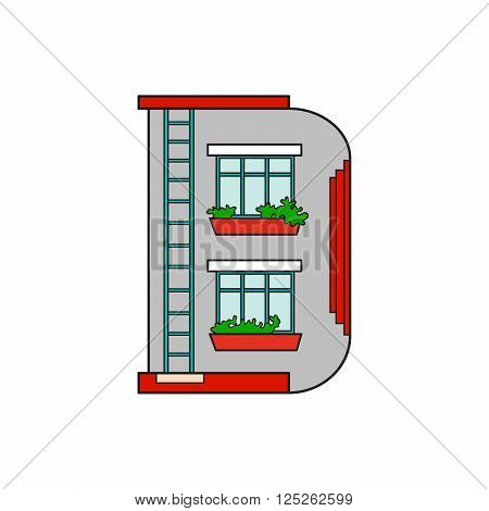 Illustration house letter alphabet. Larning the alphabet and literally in kindergarten. Letter isolated. The letter D