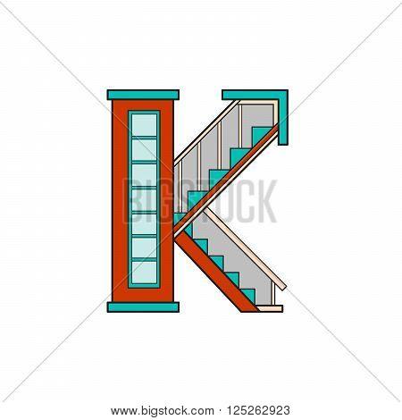 Illustration house letter alphabet. Learning the alphabet and literally in kindergarten. Letter isolated. The letter K