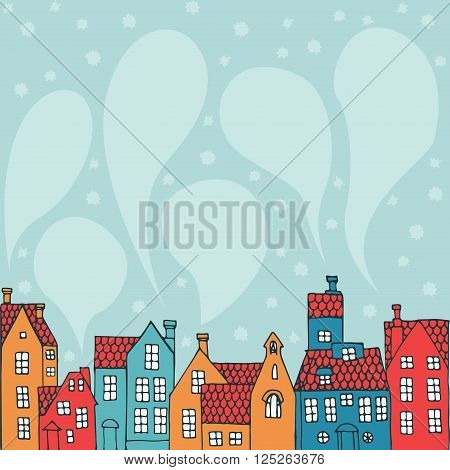 Winter background with hand-painted houses and smoke as a speech bubble.