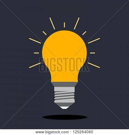 Incandescent lamp for illumination. The concept of the idea. Flat light bulb logo.