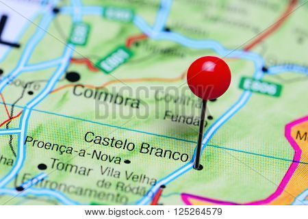 Castelo Branco pinned on a map of Portugal