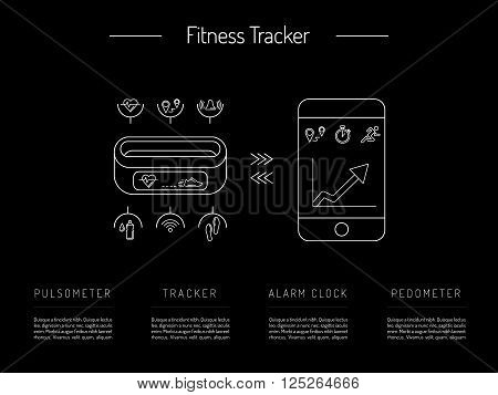 Illustration fitness bracelet. Fitness tracker pedometer. Fitness tracker with alarm function. Sync fitness tracker and smart phone. Fitness tracker with heart rate monitor function. Linear style. poster