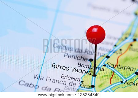 Torres Vedras pinned on a map of Portugal