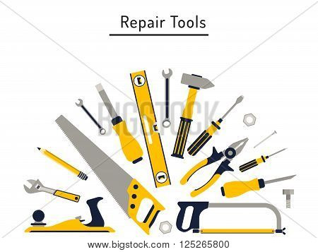 Construction repair tools flat icon set. Tools like hammer axe ruler hatchet home repair. Isolated tools flat set.