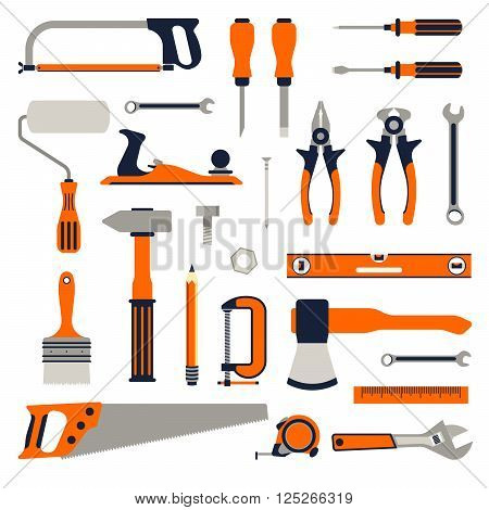 Construction repair tools flat icon set. tools home repair set. Isolated tools flat set.