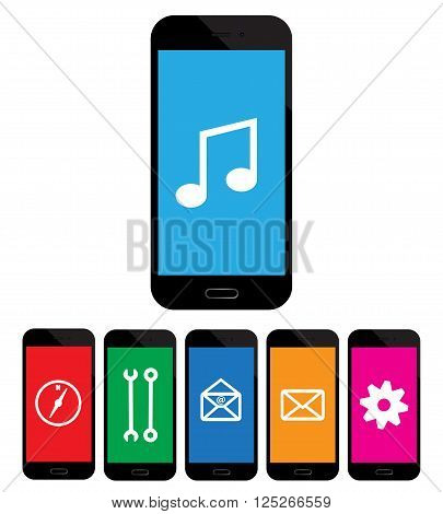colored mobile phone icons on white background.
